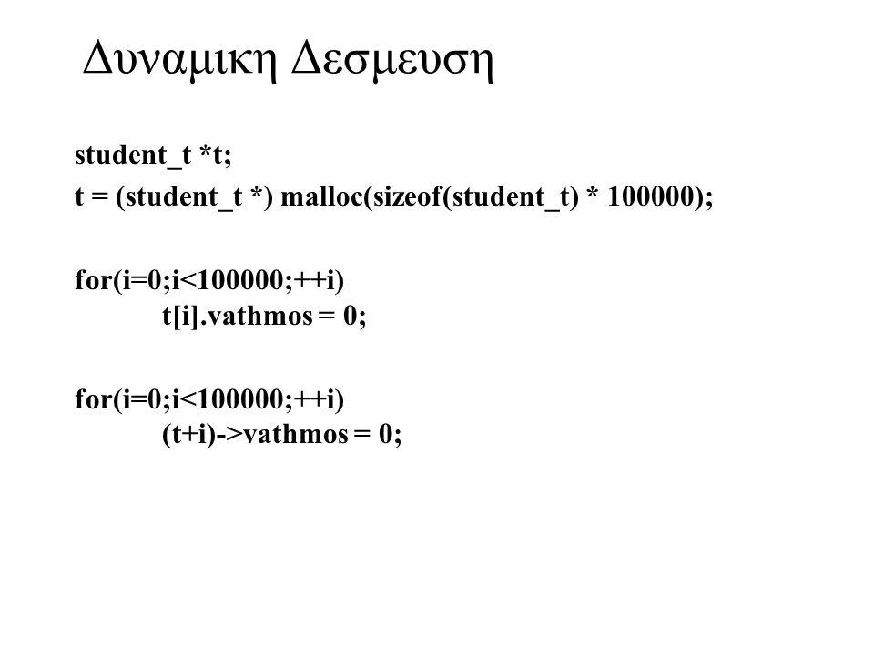 Δυναμικη Δεσμευση student_t *t; t = (student_t *) malloc(sizeof(student_t) * 100000); for(i=0;i<100000;++i) t[i].vathmos = 0; for(i=0;i vathmos = 0;