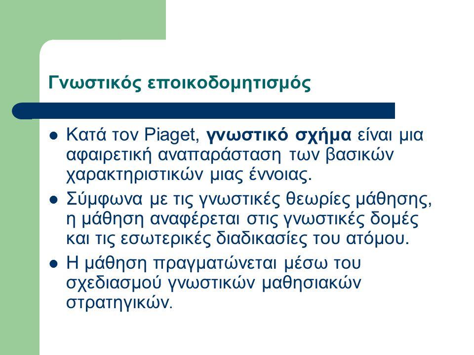 Γνωστικός εποικοδομητισμός Κατά τον Piaget, γνωστικό σχήμα είναι μια αφαιρετική αναπαράσταση των βασικών χαρακτηριστικών μιας έννοιας.