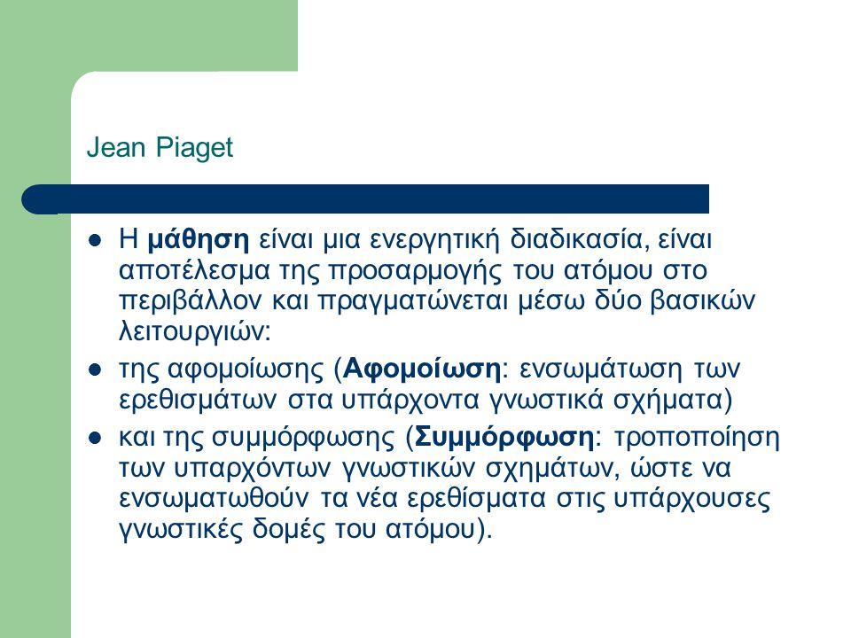 Jean Piaget Η μάθηση είναι μια ενεργητική διαδικασία, είναι αποτέλεσμα της προσαρμογής του ατόμου στο περιβάλλον και πραγματώνεται μέσω δύο βασικών λειτουργιών: της αφομοίωσης (Αφομοίωση: ενσωμάτωση των ερεθισμάτων στα υπάρχοντα γνωστικά σχήματα) και της συμμόρφωσης (Συμμόρφωση: τροποποίηση των υπαρχόντων γνωστικών σχημάτων, ώστε να ενσωματωθούν τα νέα ερεθίσματα στις υπάρχουσες γνωστικές δομές του ατόμου).