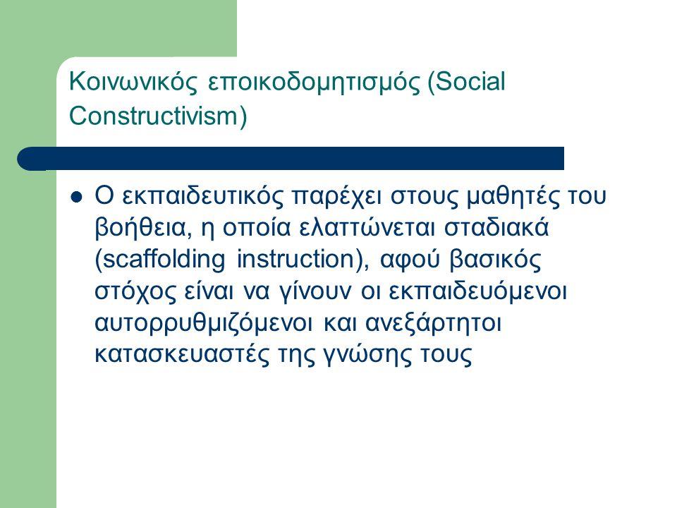 Κοινωνικός εποικοδομητισμός (Social Constructivism) Ο εκπαιδευτικός παρέχει στους μαθητές του βοήθεια, η οποία ελαττώνεται σταδιακά (scaffolding instruction), αφού βασικός στόχος είναι να γίνουν οι εκπαιδευόμενοι αυτορρυθμιζόμενοι και ανεξάρτητοι κατασκευαστές της γνώσης τους
