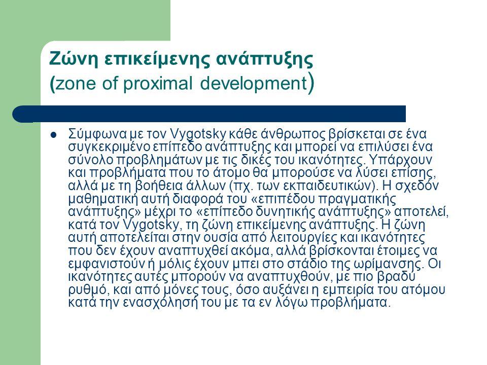 Ζώνη επικείμενης ανάπτυξης (zone of proximal development ) Σύμφωνα με τον Vygotsky κάθε άνθρωπος βρίσκεται σε ένα συγκεκριμένο επίπεδο ανάπτυξης και μπορεί να επιλύσει ένα σύνολο προβλημάτων με τις δικές του ικανότητες.