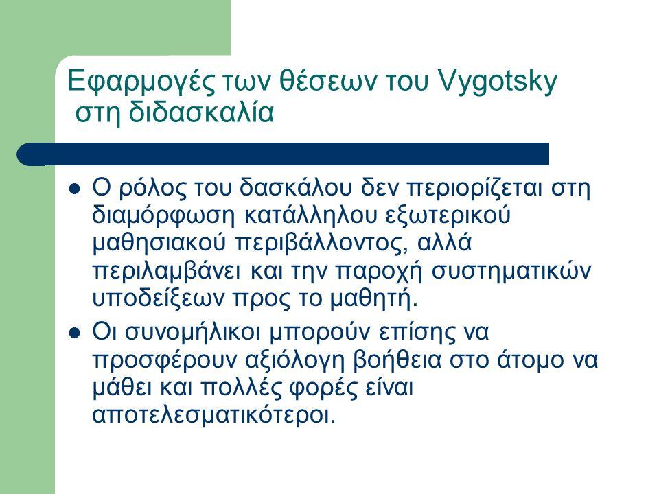 Εφαρμογές των θέσεων του Vygotsky στη διδασκαλία Ο ρόλος του δασκάλου δεν περιορίζεται στη διαμόρφωση κατάλληλου εξωτερικού μαθησιακού περιβάλλοντος, αλλά περιλαμβάνει και την παροχή συστηματικών υποδείξεων προς το μαθητή.