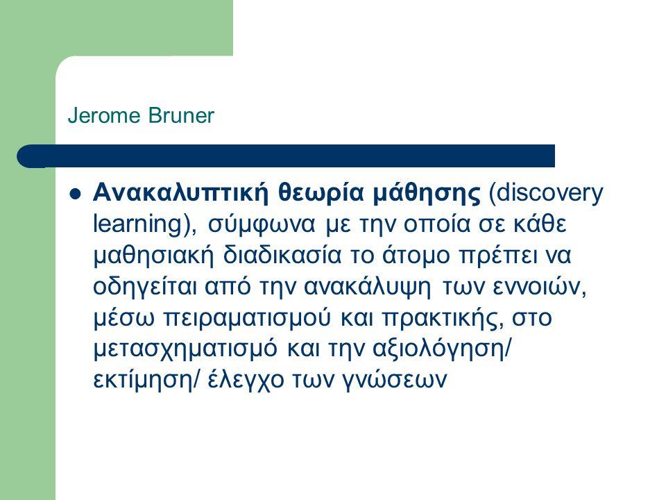 Jerome Bruner Ανακαλυπτική θεωρία μάθησης (discovery learning), σύμφωνα με την οποία σε κάθε μαθησιακή διαδικασία το άτομο πρέπει να οδηγείται από την ανακάλυψη των εννοιών, μέσω πειραματισμού και πρακτικής, στο μετασχηματισμό και την αξιολόγηση/ εκτίμηση/ έλεγχο των γνώσεων