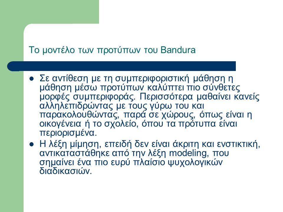Το μοντέλο των προτύπων του Bandura Σε αντίθεση με τη συμπεριφοριστική μάθηση η μάθηση μέσω προτύπων καλύπτει πιο σύνθετες μορφές συμπεριφοράς.