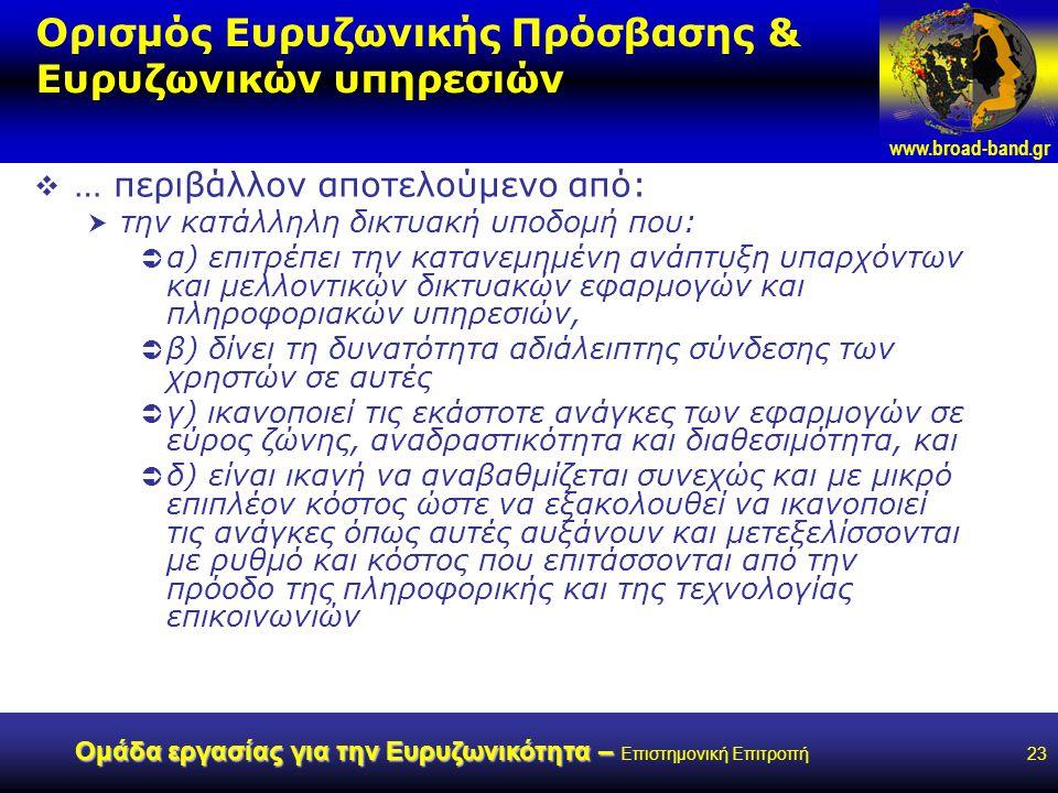 www.broad-band.gr Ομάδα εργασίας για την Ευρυζωνικότητα – Ομάδα εργασίας για την Ευρυζωνικότητα – Επιστημονική Επιτροπή23 Ορισμός Ευρυζωνικής Πρόσβασης & Ευρυζωνικών υπηρεσιών  … περιβάλλον αποτελούμενο από:  την κατάλληλη δικτυακή υποδομή που:  α) επιτρέπει την κατανεμημένη ανάπτυξη υπαρχόντων και μελλοντικών δικτυακών εφαρμογών και πληροφοριακών υπηρεσιών,  β) δίνει τη δυνατότητα αδιάλειπτης σύνδεσης των χρηστών σε αυτές  γ) ικανοποιεί τις εκάστοτε ανάγκες των εφαρμογών σε εύρος ζώνης, αναδραστικότητα και διαθεσιμότητα, και  δ) είναι ικανή να αναβαθμίζεται συνεχώς και με μικρό επιπλέον κόστος ώστε να εξακολουθεί να ικανοποιεί τις ανάγκες όπως αυτές αυξάνουν και μετεξελίσσονται με ρυθμό και κόστος που επιτάσσονται από την πρόοδο της πληροφορικής και της τεχνολογίας επικοινωνιών