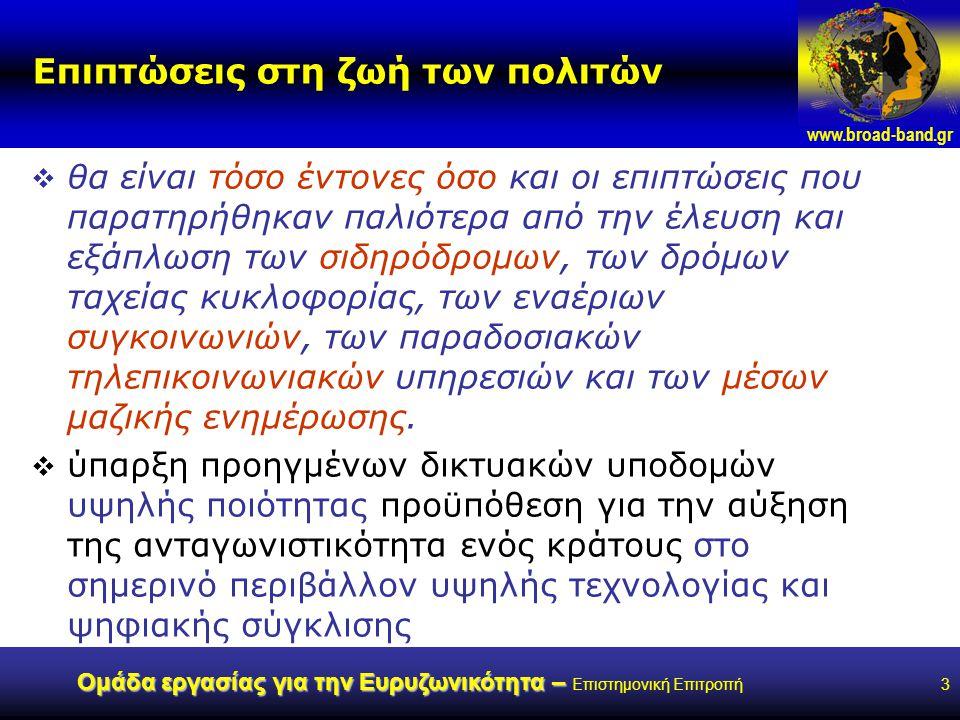www.broad-band.gr Ομάδα εργασίας για την Ευρυζωνικότητα – Ομάδα εργασίας για την Ευρυζωνικότητα – Επιστημονική Επιτροπή24 Ορισμός Ευρυζωνικής Πρόσβασης & Ευρυζωνικών υπηρεσιών  … περιβάλλον αποτελούμενο από:  την δυνατότητα του πολίτη να επιλέγει  α) ανάμεσα σε εναλλακτικές προσφορές σύνδεσης που ταιριάζουν στον εξοπλισμό του,  β) μεταξύ διαφόρων δικτυακών εφαρμογών και  γ) μεταξύ διαφόρων υπηρεσιών πληροφόρησης και ψυχαγωγίας και με πιθανή συμμετοχή του ίδιου του πολίτη στην παροχή περιεχομένου, εφαρμογών και υπηρεσιών