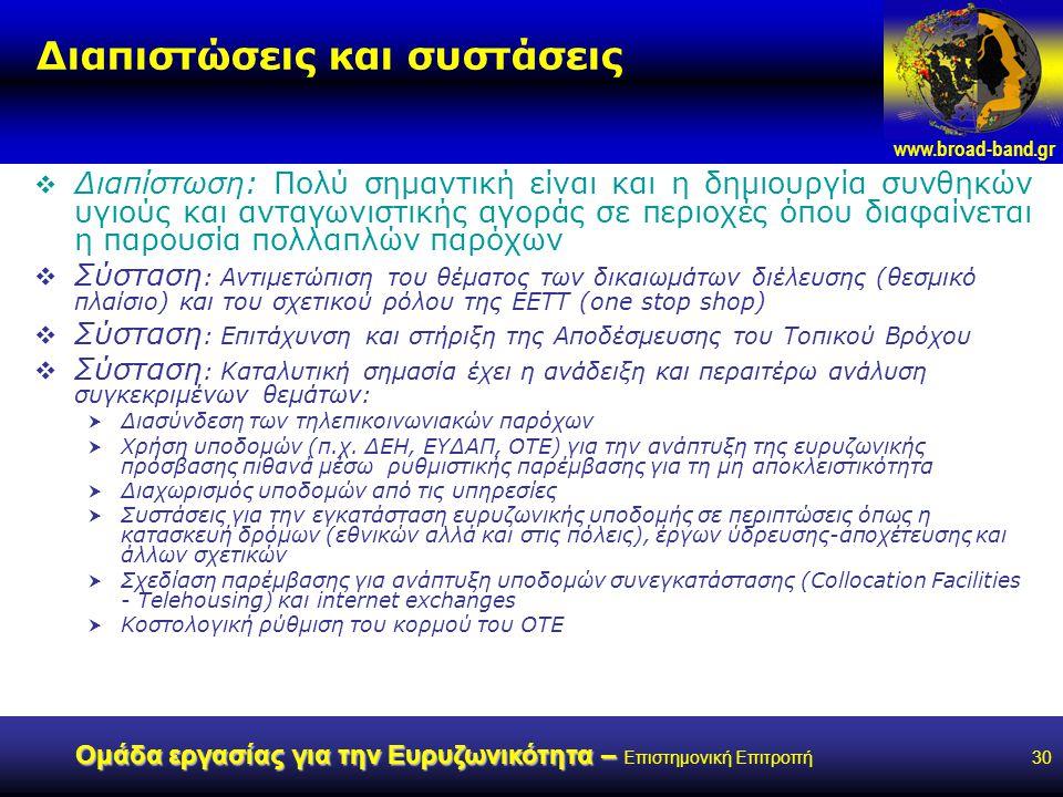 www.broad-band.gr Ομάδα εργασίας για την Ευρυζωνικότητα – Ομάδα εργασίας για την Ευρυζωνικότητα – Επιστημονική Επιτροπή30 Διαπιστώσεις και συστάσεις  Διαπίστωση: Πολύ σημαντική είναι και η δημιουργία συνθηκών υγιούς και ανταγωνιστικής αγοράς σε περιοχές όπου διαφαίνεται η παρουσία πολλαπλών παρόχων  Σύσταση : Αντιμετώπιση του θέματος των δικαιωμάτων διέλευσης (θεσμικό πλαίσιο) και του σχετικού ρόλου της ΕΕΤΤ (one stop shop)  Σύσταση : Επιτάχυνση και στήριξη της Αποδέσμευσης του Τοπικού Βρόχου  Σύσταση : Καταλυτική σημασία έχει η ανάδειξη και περαιτέρω ανάλυση συγκεκριμένων θεμάτων:  Διασύνδεση των τηλεπικοινωνιακών παρόχων  Χρήση υποδομών (π.χ.