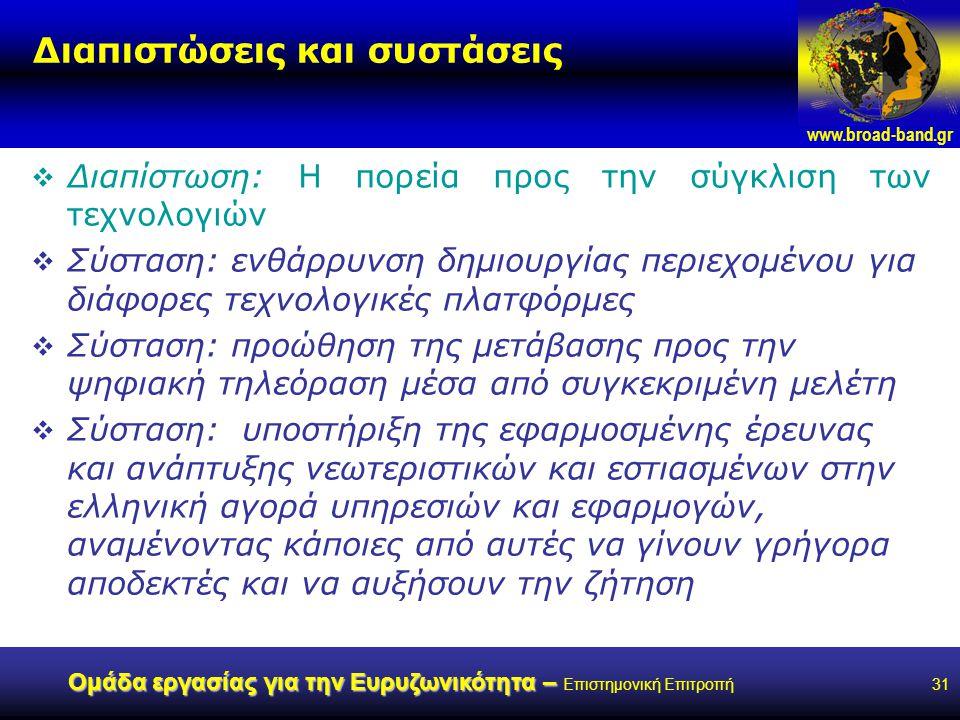 www.broad-band.gr Ομάδα εργασίας για την Ευρυζωνικότητα – Ομάδα εργασίας για την Ευρυζωνικότητα – Επιστημονική Επιτροπή31 Διαπιστώσεις και συστάσεις  Διαπίστωση: Η πορεία προς την σύγκλιση των τεχνολογιών  Σύσταση: ενθάρρυνση δημιουργίας περιεχομένου για διάφορες τεχνολογικές πλατφόρμες  Σύσταση: προώθηση της μετάβασης προς την ψηφιακή τηλεόραση μέσα από συγκεκριμένη μελέτη  Σύσταση: υποστήριξη της εφαρμοσμένης έρευνας και ανάπτυξης νεωτεριστικών και εστιασμένων στην ελληνική αγορά υπηρεσιών και εφαρμογών, αναμένοντας κάποιες από αυτές να γίνουν γρήγορα αποδεκτές και να αυξήσουν την ζήτηση