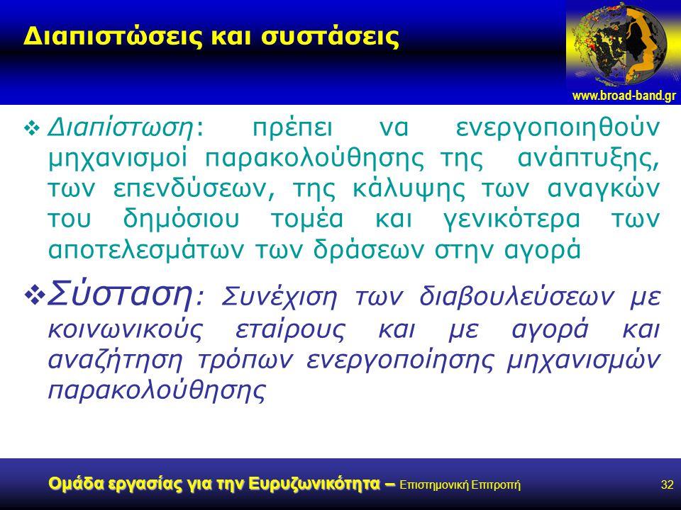 www.broad-band.gr Ομάδα εργασίας για την Ευρυζωνικότητα – Ομάδα εργασίας για την Ευρυζωνικότητα – Επιστημονική Επιτροπή32 Διαπιστώσεις και συστάσεις  Διαπίστωση: πρέπει να ενεργοποιηθούν μηχανισμοί παρακολούθησης της ανάπτυξης, των επενδύσεων, της κάλυψης των αναγκών του δημόσιου τομέα και γενικότερα των αποτελεσμάτων των δράσεων στην αγορά  Σύσταση : Συνέχιση των διαβουλεύσεων με κοινωνικούς εταίρους και με αγορά και αναζήτηση τρόπων ενεργοποίησης μηχανισμών παρακολούθησης