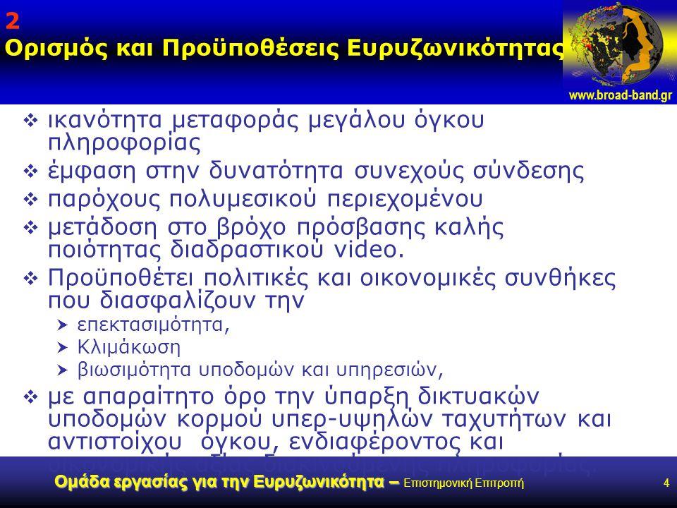www.broad-band.gr Ομάδα εργασίας για την Ευρυζωνικότητα – Ομάδα εργασίας για την Ευρυζωνικότητα – Επιστημονική Επιτροπή4 2 Ορισμός και Προϋποθέσεις Ευρυζωνικότητας  ικανότητα μεταφοράς μεγάλου όγκου πληροφορίας  έμφαση στην δυνατότητα συνεχούς σύνδεσης  παρόχους πολυμεσικού περιεχομένου  μετάδοση στο βρόχο πρόσβασης καλής ποιότητας διαδραστικού video.