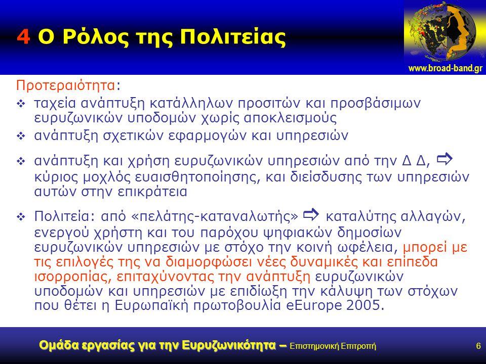 www.broad-band.gr Ομάδα εργασίας για την Ευρυζωνικότητα – Ομάδα εργασίας για την Ευρυζωνικότητα – Επιστημονική Επιτροπή17 Δυνατότητες παρέμβασης Αγωγοί Υπηρεσίες Μετάδοση Καλώδια Περιεχόμενο και Εφαρμογές Κοινή Χρήση Αποδεσμοποίηση και κοινή χρήση Χονδρεμπόριο και αποδεσμοποίηση Επιδοτήσεις και Κίνητρα Άθροιση ζήτησης και χονδρεμπόριο