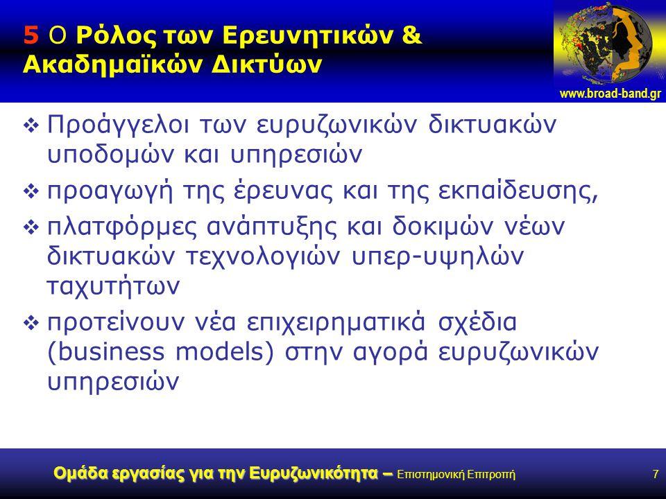 www.broad-band.gr Ομάδα εργασίας για την Ευρυζωνικότητα – Ομάδα εργασίας για την Ευρυζωνικότητα – Επιστημονική Επιτροπή7 5 Ο Ρόλος των Ερευνητικών & Ακαδημαϊκών Δικτύων  Προάγγελοι των ευρυζωνικών δικτυακών υποδομών και υπηρεσιών  προαγωγή της έρευνας και της εκπαίδευσης,  πλατφόρμες ανάπτυξης και δοκιμών νέων δικτυακών τεχνολογιών υπερ-υψηλών ταχυτήτων  προτείνουν νέα επιχειρηματικά σχέδια (business models) στην αγορά ευρυζωνικών υπηρεσιών