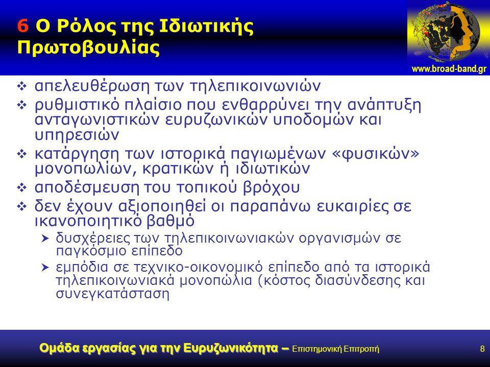 www.broad-band.gr Ομάδα εργασίας για την Ευρυζωνικότητα – Ομάδα εργασίας για την Ευρυζωνικότητα – Επιστημονική Επιτροπή8 6 Ο Ρόλος της Ιδιωτικής Πρωτοβουλίας  απελευθέρωση των τηλεπικοινωνιών  ρυθμιστικό πλαίσιο που ενθαρρύνει την ανάπτυξη ανταγωνιστικών ευρυζωνικών υποδομών και υπηρεσιών  κατάργηση των ιστορικά παγιωμένων «φυσικών» μονοπωλίων, κρατικών ή ιδιωτικών  αποδέσμευση του τοπικού βρόχου  δεν έχουν αξιοποιηθεί οι παραπάνω ευκαιρίες σε ικανοποιητικό βαθμό  δυσχέρειες των τηλεπικοινωνιακών οργανισμών σε παγκόσμιο επίπεδο  εμπόδια σε τεχνικο-οικονομικό επίπεδο από τα ιστορικά τηλεπικοινωνιακά μονοπώλια (κόστος διασύνδεσης και συνεγκατάσταση