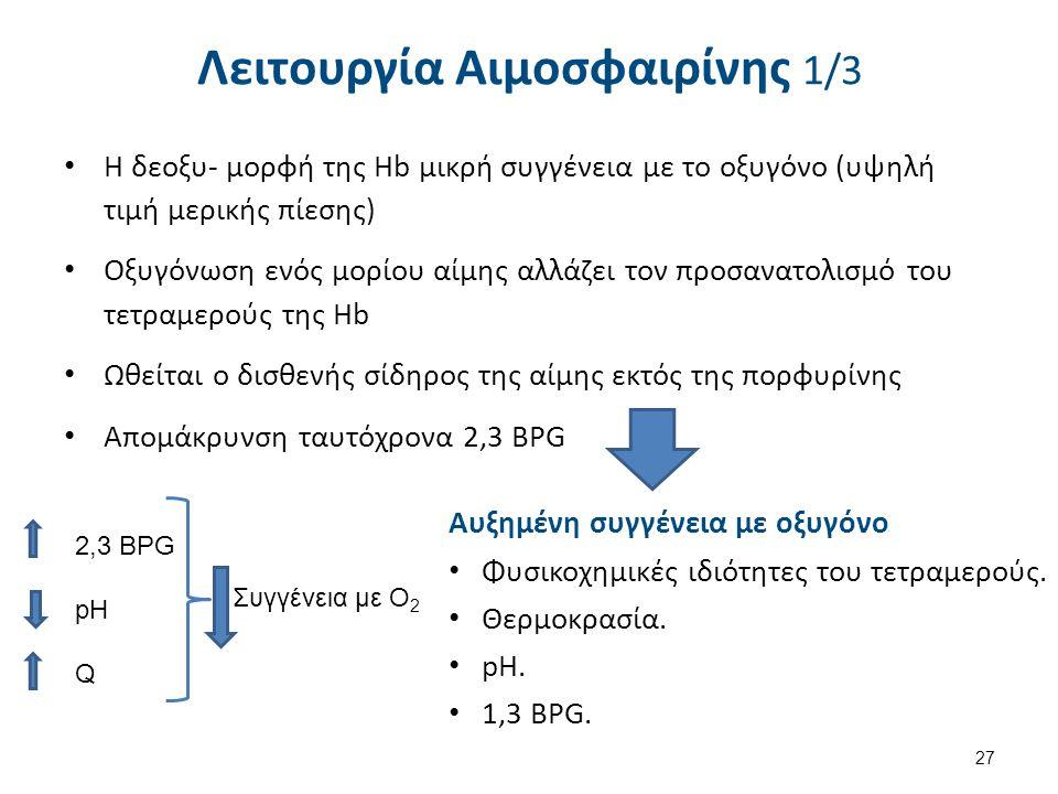 Αυξημένη συγγένεια με οξυγόνο Φυσικοχημικές ιδιότητες του τετραμερούς. Θερμοκρασία. pH. 1,3 BPG. 2,3 BPG pH Q Συγγένεια με Ο 2 Λειτουργία Αιμοσφαιρίνη