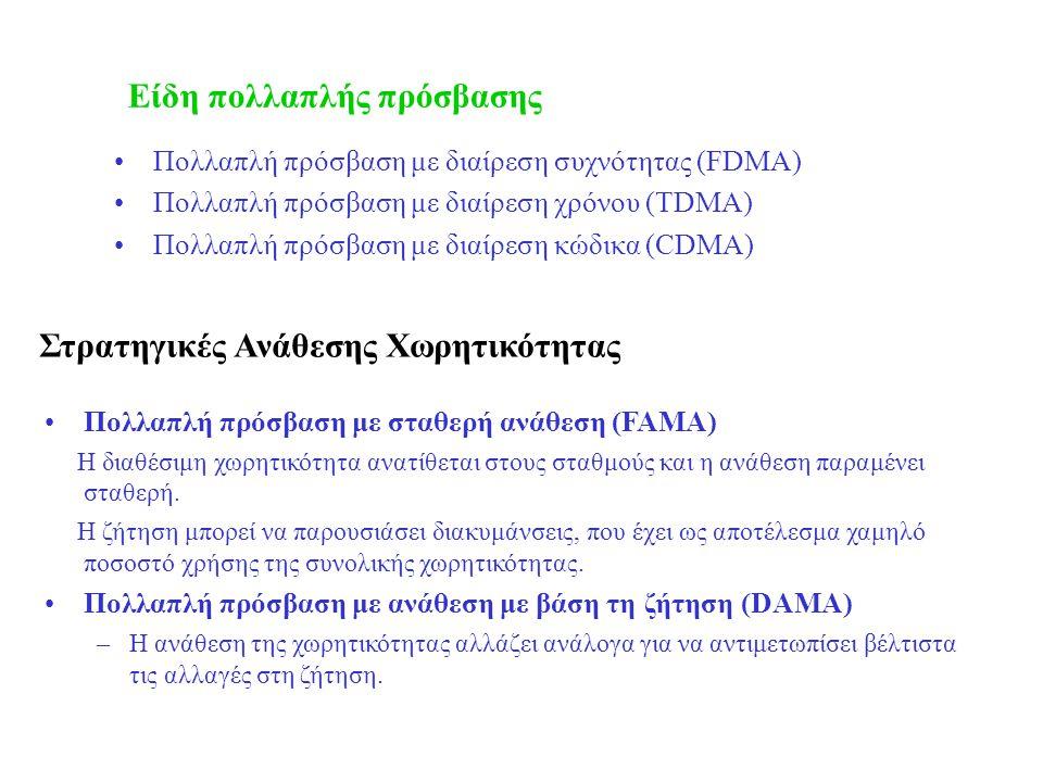 Στρατηγικές Ανάθεσης Χωρητικότητας Πολλαπλή πρόσβαση με διαίρεση συχνότητας (FDMA) Πολλαπλή πρόσβαση με διαίρεση χρόνου (TDMA) Πολλαπλή πρόσβαση με διαίρεση κώδικα (CDMA) Πολλαπλή πρόσβαση με σταθερή ανάθεση (FAMA) Η διαθέσιμη χωρητικότητα ανατίθεται στους σταθμούς και η ανάθεση παραμένει σταθερή.
