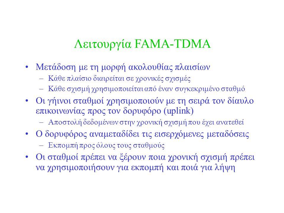 Λειτουργία FAMA-TDMA Μετάδοση με τη μορφή ακολουθίας πλαισίων –Κάθε πλαίσιο διαιρείται σε χρονικές σχισμές –Κάθε σχισμή χρησιμοποιείται από έναν συγκεκριμένο σταθμό Οι γήινοι σταθμοί χρησιμοποιούν με τη σειρά τον δίαυλο επικοινωνίας προς τον δορυφόρο (uplink) –Αποστολή δεδομένων στην χρονική σχισμή που έχει ανατεθεί Ο δορυφόρος αναμεταδίδει τις εισερχόμενες μεταδόσεις –Εκπομπή προς όλους τους σταθμούς Οι σταθμοί πρέπει να ξέρουν ποια χρονική σχισμή πρέπει να χρησιμοποιήσουν για εκπομπή και ποιά για λήψη