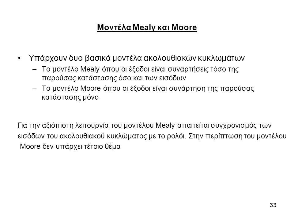 33 Μοντέλα Mealy και Moore Υπάρχουν δυο βασικά μοντέλα ακολουθιακών κυκλωμάτων –Το μοντέλο Mealy όπου οι έξοδοι είναι συναρτήσεις τόσο της παρούσας κατάστασης όσο και των εισόδων –Το μοντέλο Moore όπου οι έξοδοι είναι συνάρτηση της παρούσας κατάστασης μόνο Για την αξιόπιστη λειτουργία του μοντέλου Mealy απαιτείται συγχρονισμός των εισόδων του ακολουθιακού κυκλώματος με το ρολόι.