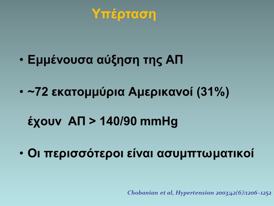 Εμμένουσα αύξηση της ΑΠ ~72 εκατομμύρια Αμερικανοί (31%) έχουν ΑΠ > 140/90 mmHg Οι περισσότεροι είναι ασυμπτωματικοί Chobanian et al, Hypertension 200
