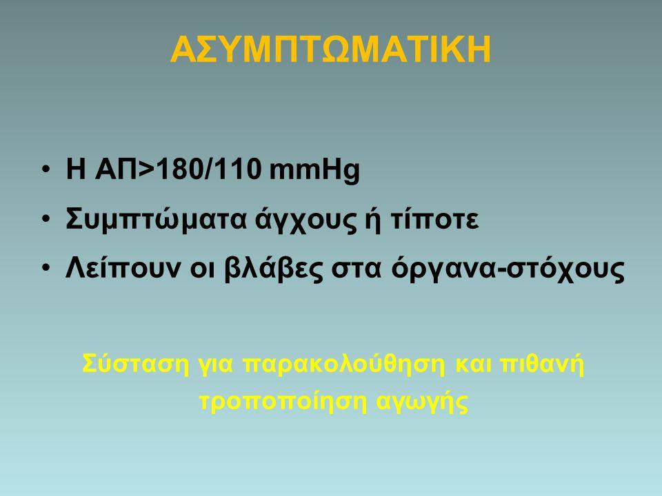 ΑΣΥΜΠΤΩΜΑΤΙΚΗ Η ΑΠ>180/110 mmHg Συμπτώματα άγχους ή τίποτε Λείπουν οι βλάβες στα όργανα-στόχους Σύσταση για παρακολούθηση και πιθανή τροποποίηση αγωγή