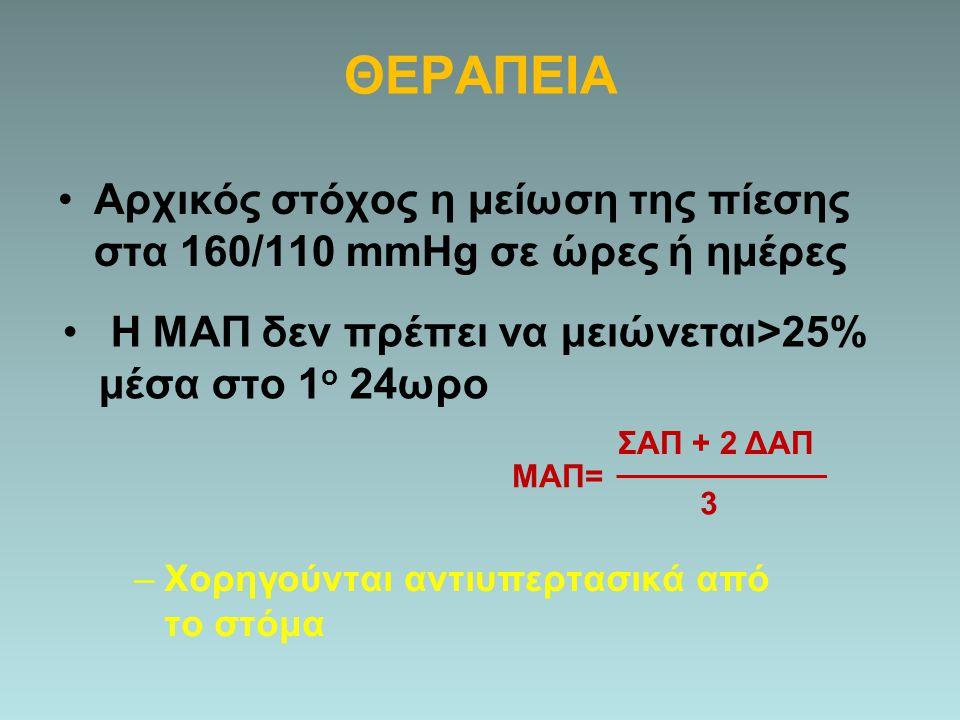 ΘΕΡΑΠΕΙΑ Αρχικός στόχος η μείωση της πίεσης στα 160/110 mmHg σε ώρες ή ημέρες ΜΑΠ= ΣΑΠ + 2 ΔΑΠ 3 Η ΜΑΠ δεν πρέπει να μειώνεται>25% μέσα στο 1 ο 24ωρο