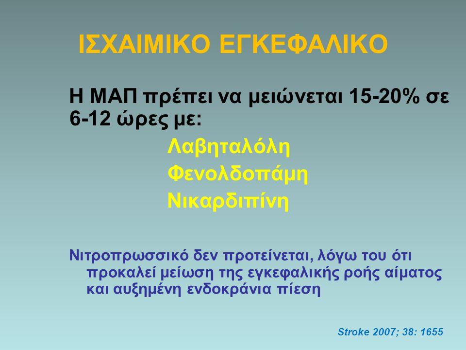 ΙΣΧΑΙΜΙΚΟ ΕΓΚΕΦΑΛΙΚΟ Η ΜΑΠ πρέπει να μειώνεται 15-20% σε 6-12 ώρες με: Λαβηταλόλη Φενολδοπάμη Νικαρδιπίνη Stroke 2007; 38: 1655 Νιτροπρωσσικό δεν προτ