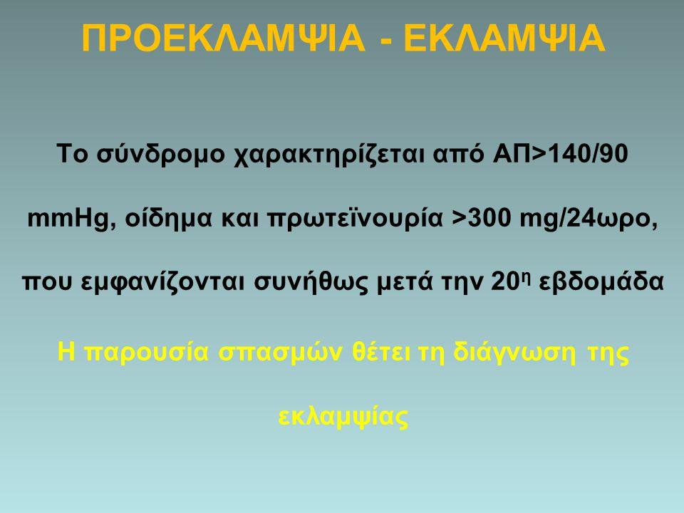 ΠΡΟΕΚΛΑΜΨΙΑ - ΕΚΛΑΜΨΙΑ Το σύνδρομο χαρακτηρίζεται από ΑΠ>140/90 mmHg, οίδημα και πρωτεϊνουρία >300 mg/24ωρο, που εμφανίζονται συνήθως μετά την 20 η εβ