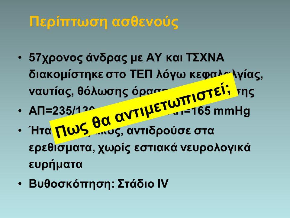 57χρονος άνδρας με ΑΥ και ΤΣΧΝΑ διακομίστηκε στο ΤΕΠ λόγω κεφαλαλγίας, ναυτίας, θόλωσης όρασης και σύγχυσης ΑΠ=235/130 mmHg και ΜΑΠ=165 mmHg Ήταν υπνη