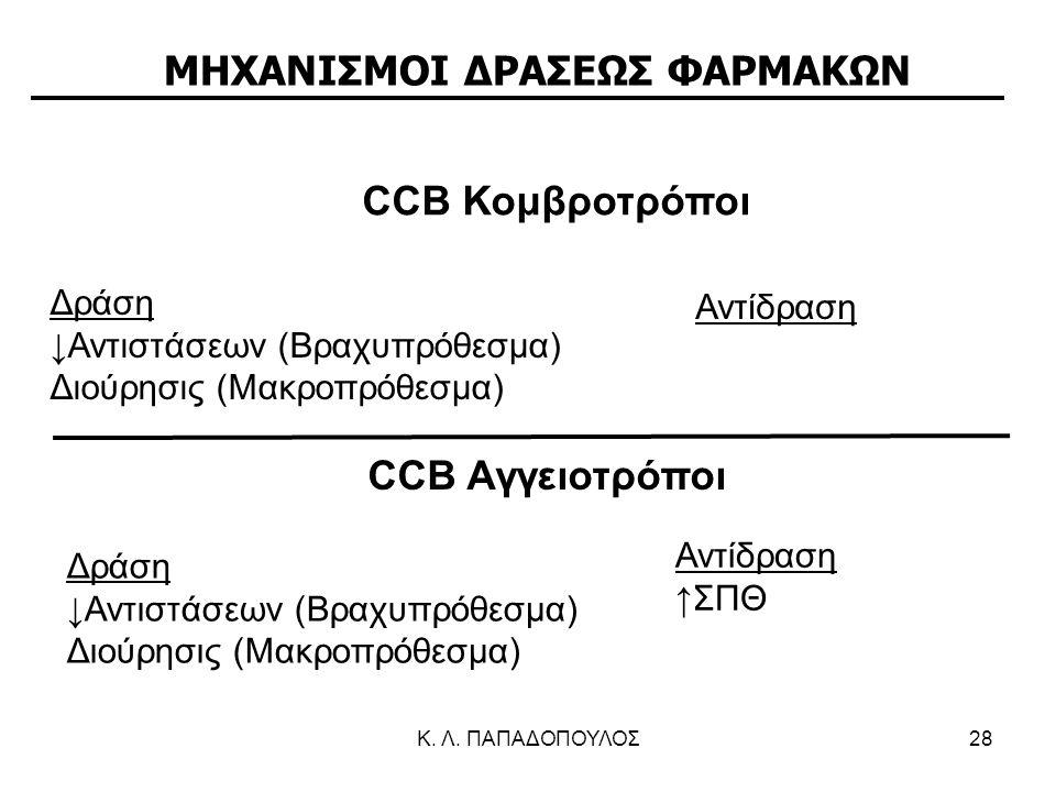 Κ. Λ. ΠΑΠΑΔΟΠΟΥΛΟΣ28 Δράση ↓Αντιστάσεων (Βραχυπρόθεσμα) Διούρησις (Μακροπρόθεσμα) Αντίδραση CCB Αγγειοτρόποι Δράση ↓Αντιστάσεων (Bραχυπρόθεσμα) Διούρη