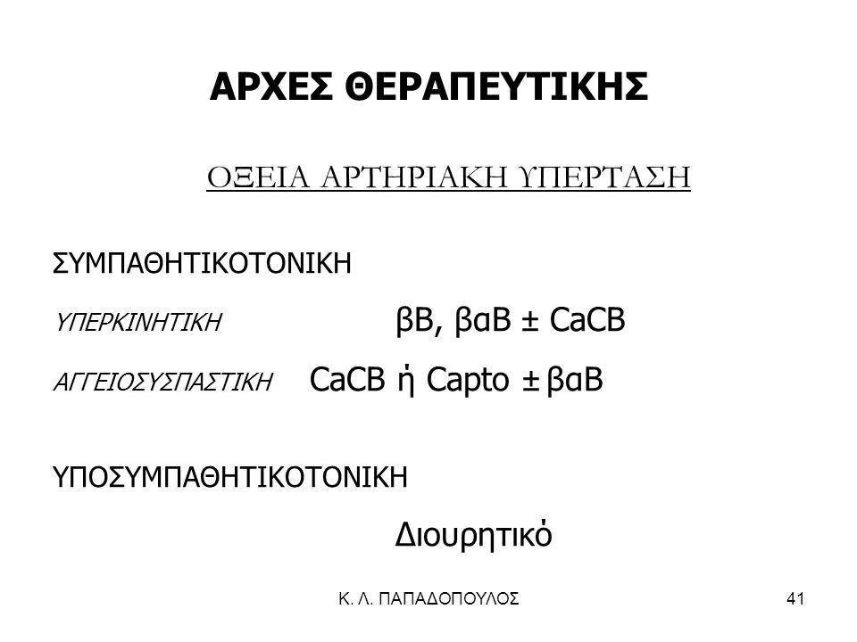 Κ. Λ. ΠΑΠΑΔΟΠΟΥΛΟΣ41 ΑΡΧΕΣ ΘΕΡΑΠΕΥΤΙΚΗΣ ΟΞΕΙΑ ΑΡΤΗΡΙΑΚΗ ΥΠΕΡΤΑΣΗ ΣΥΜΠΑΘΗΤΙΚΟΤΟΝΙΚΗ ΥΠΕΡΚΙΝΗΤΙΚΗ βΒ, βαΒ ± CaCB ΑΓΓΕΙΟΣΥΣΠΑΣΤΙΚΗ CaCΒ ή Capto ± βαΒ ΥΠΟ