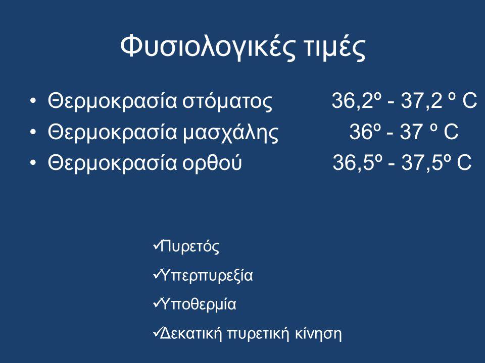 Φυσιολογικές τιμές Θερμοκρασία στόματος 36,2º - 37,2 º C Θερμοκρασία μασχάλης 36º - 37 º C Θερμοκρασία ορθού 36,5º - 37,5º C Πυρετός Υπερπυρεξία Υποθερμία Δεκατική πυρετική κίνηση