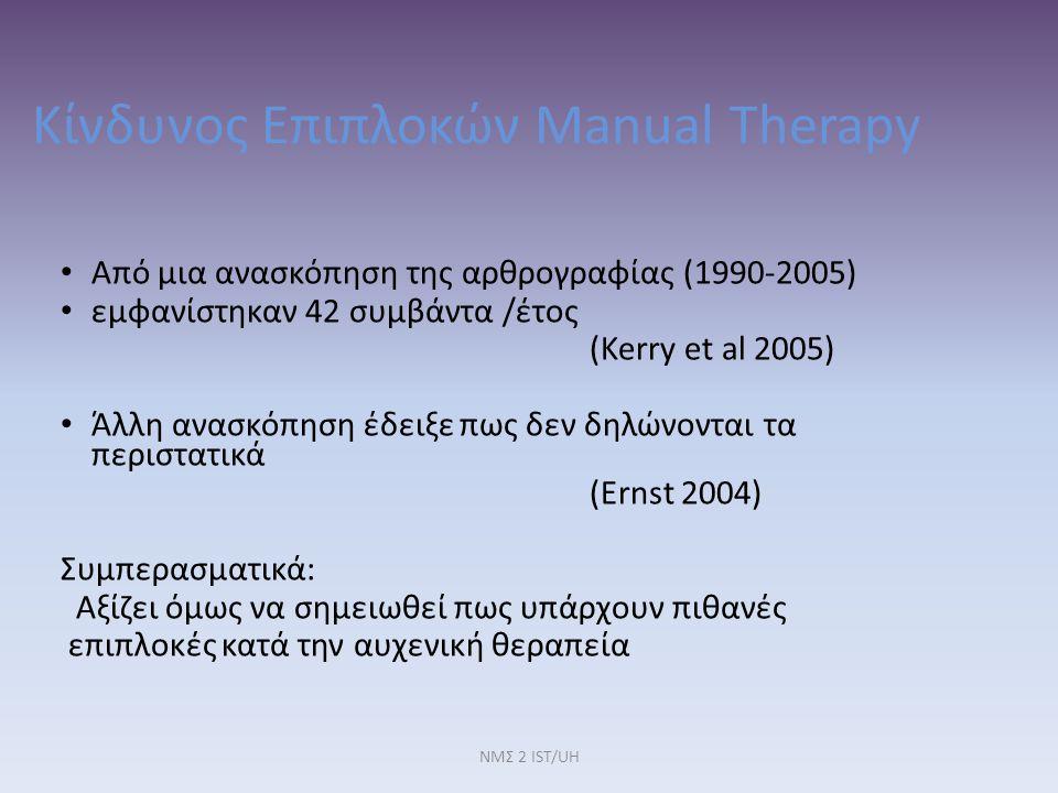 ΝΜΣ 2 IST/UH Κίνδυνος Επιπλοκών Manual Therapy Από μια ανασκόπηση της αρθρογραφίας (1990-2005) εμφανίστηκαν 42 συμβάντα /έτος (Kerry et al 2005) Άλλη