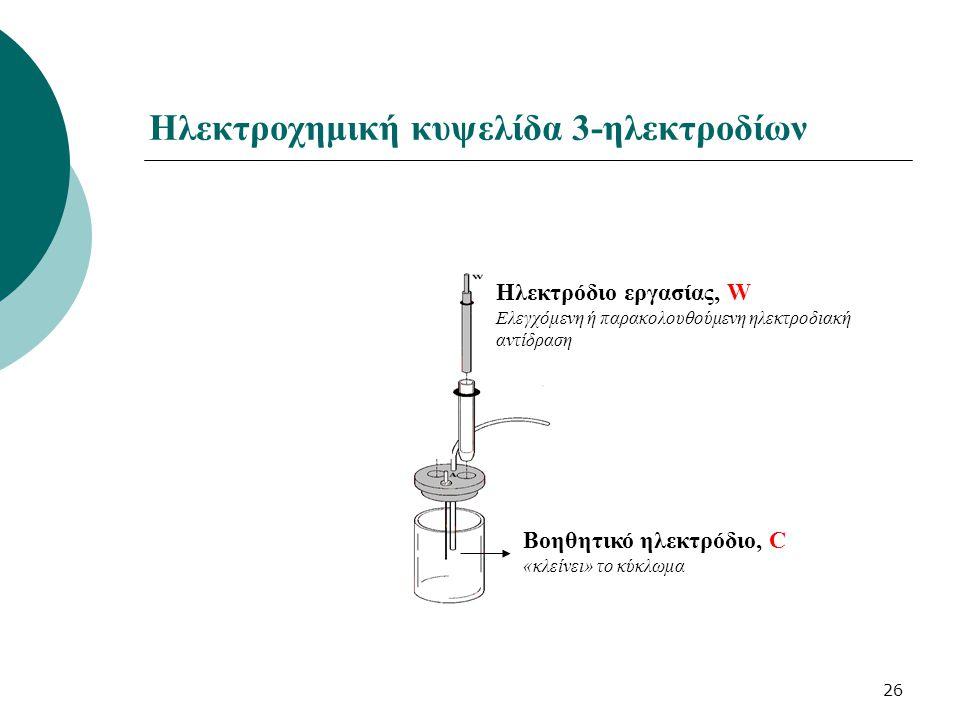 26 Ηλεκτρόδιο εργασίας, W Ελεγχόμενη ή παρακολουθούμενη ηλεκτροδιακή αντίδραση Ηλεκτρόδιο αναφοράς, R Σταθερό δυναμικό Βοηθητικό ηλεκτρόδιο, C «κλείνει» το κύκλωμα Ηλεκτροχημική κυψελίδα 3-ηλεκτροδίων