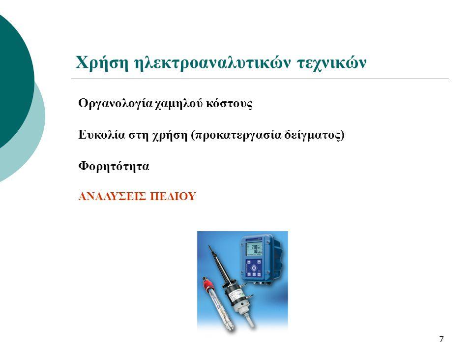 7 Χρήση ηλεκτροαναλυτικών τεχνικών Οργανολογία χαμηλού κόστους Ευκολία στη χρήση (προκατεργασία δείγματος) Φορητότητα ΑΝΑΛΥΣΕΙΣ ΠΕΔΙΟΥ