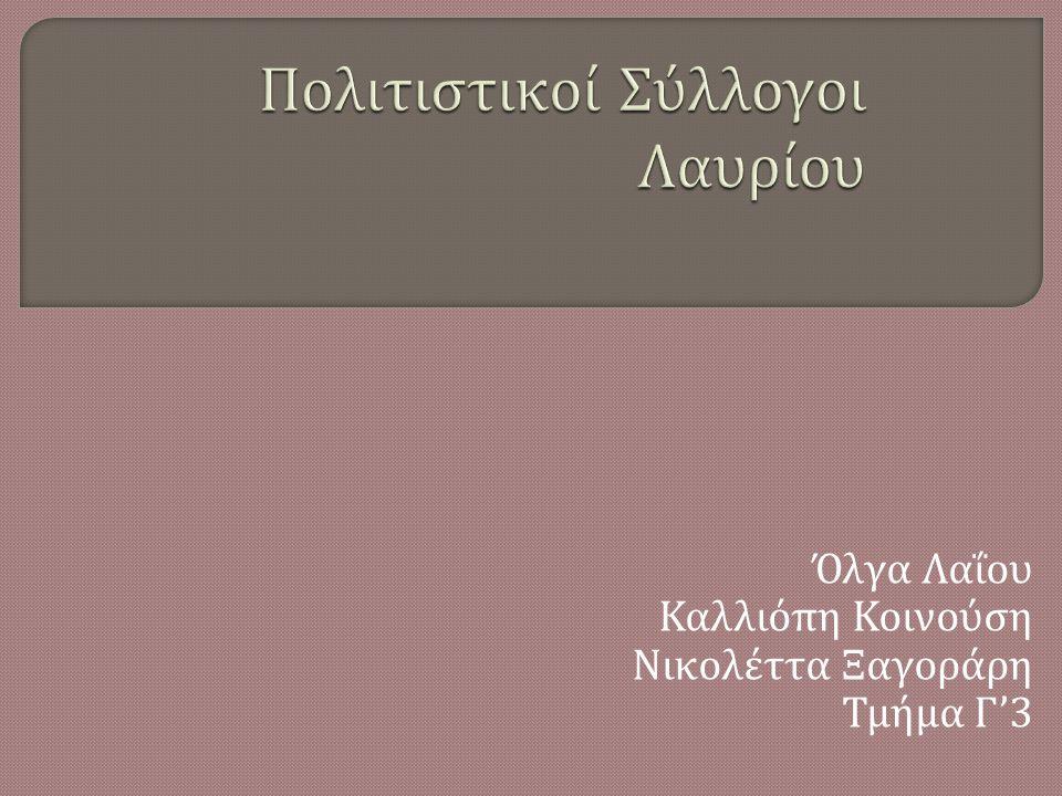 Όλγα Λαΐου Καλλιόπη Κοινούση Νικολέττα Ξαγοράρη Τμήμα Γ '3