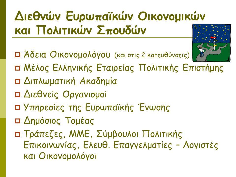 Διεθνών Ευρωπαϊκών Οικονομικών και Πολιτικών Σπουδών  Άδεια Οικονομολόγου (και στις 2 κατευθύνσεις)  Μέλος Ελληνικής Εταιρείας Πολιτικής Επιστήμης  Διπλωματική Ακαδημία  Διεθνείς Οργανισμοί  Υπηρεσίες της Ευρωπαϊκής Ένωσης  Δημόσιος Τομέας  Τράπεζες, ΜΜΕ, Σύμβουλοι Πολιτικής Επικοινωνίας, Ελευθ.