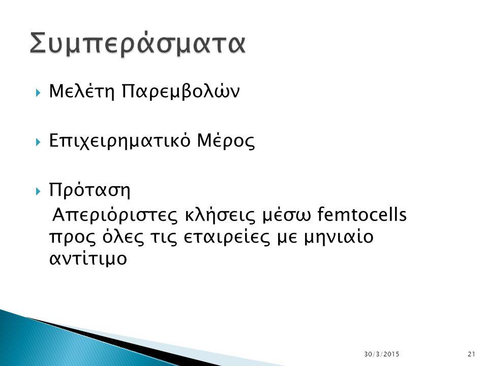  Μελέτη Παρεμβολών  Επιχειρηματικό Μέρος  Πρόταση Απεριόριστες κλήσεις μέσω femtocells προς όλες τις εταιρείες με μηνιαίο αντίτιμο 30/3/201521