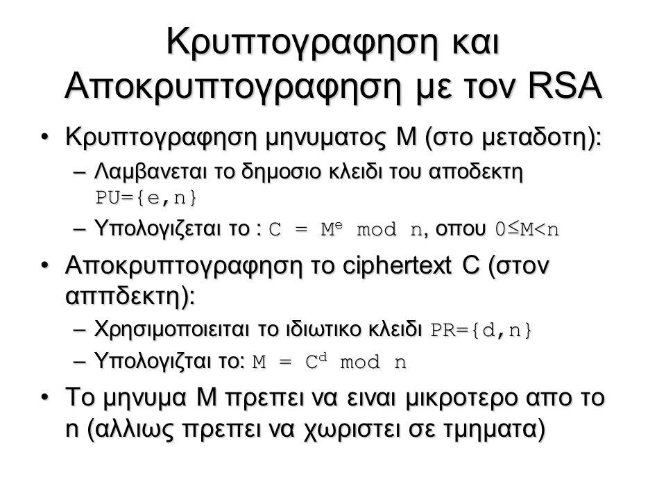 Κρυπτογραφηση και Αποκρυπτογραφηση με τον RSA Κρυπτογραφηση μηνυματος Μ (στο μεταδοτη):Κρυπτογραφηση μηνυματος Μ (στο μεταδοτη): –Λαμβανεται το δημοσι