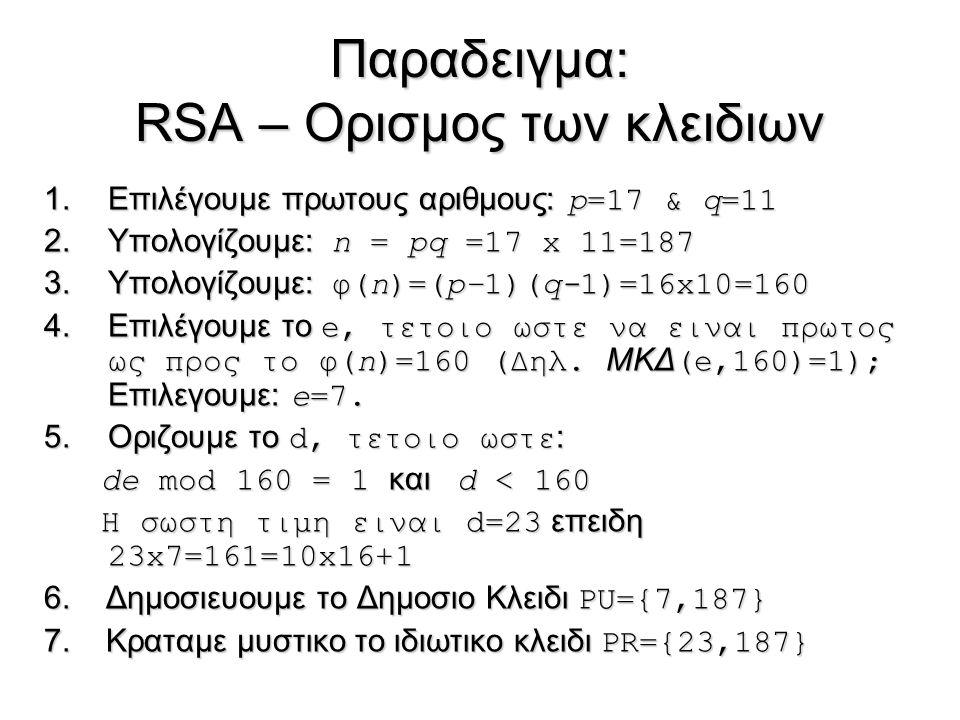 Παραδειγμα: RSA – Ορισμος των κλειδιων 1.Επιλέγουμε πρωτους αριθμους: p=17 & q=11 2.Υπολογίζουμε: n = pq =17 x 11=187 3.Υπολογίζουμε: φ(n)=(p–1)(q-1)=