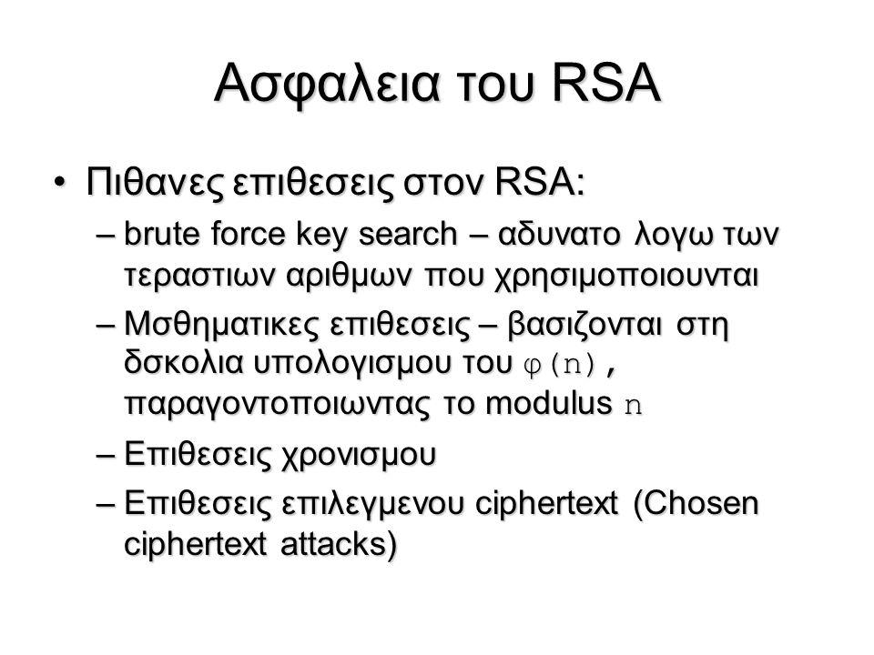 Ασφαλεια του RSA Πιθανες επιθεσεις στον RSA:Πιθανες επιθεσεις στον RSA: –brute force key search – αδυνατο λογω των τεραστιων αριθμων που χρησιμοποιουν