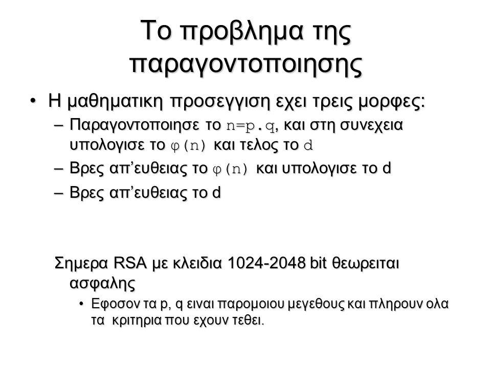Το προβλημα της παραγοντοποιησης Η μαθηματικη προσεγγιση εχει τρεις μορφες:Η μαθηματικη προσεγγιση εχει τρεις μορφες: –Παραγοντοποιησε το n=p.q, και σ