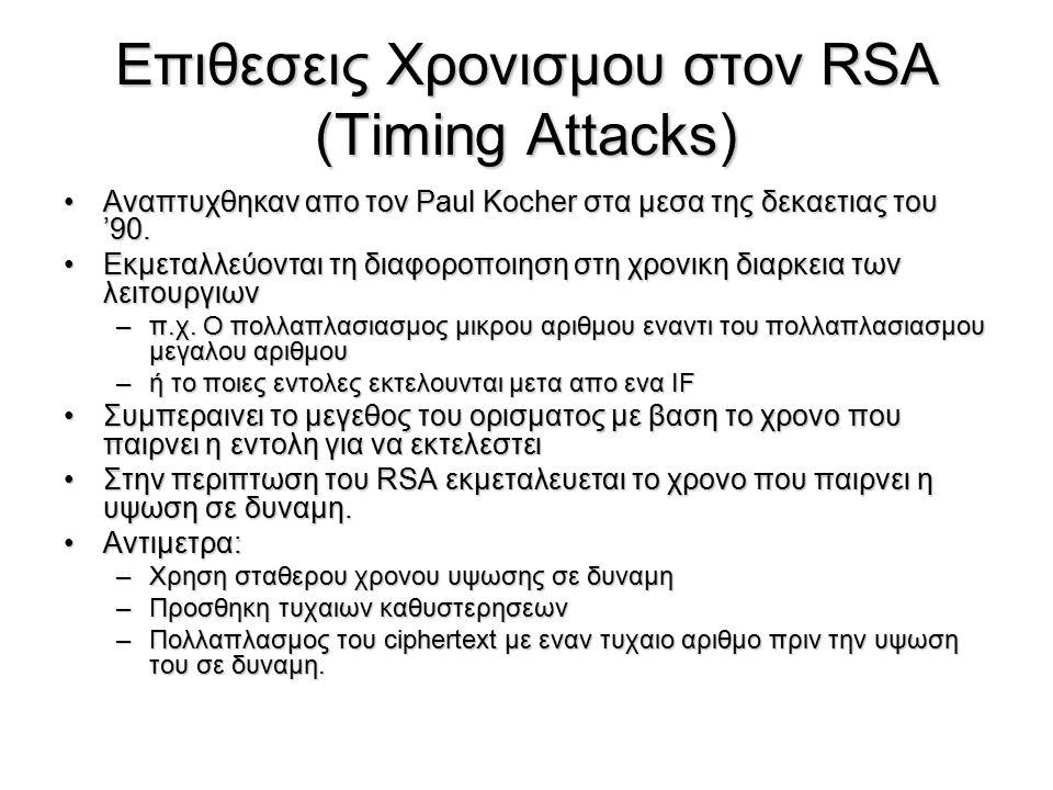 Επιθεσεις Χρονισμου στον RSA (Timing Attacks) Αναπτυχθηκαν απο τον Paul Kocher στα μεσα της δεκαετιας του '90.Αναπτυχθηκαν απο τον Paul Kocher στα μεσ