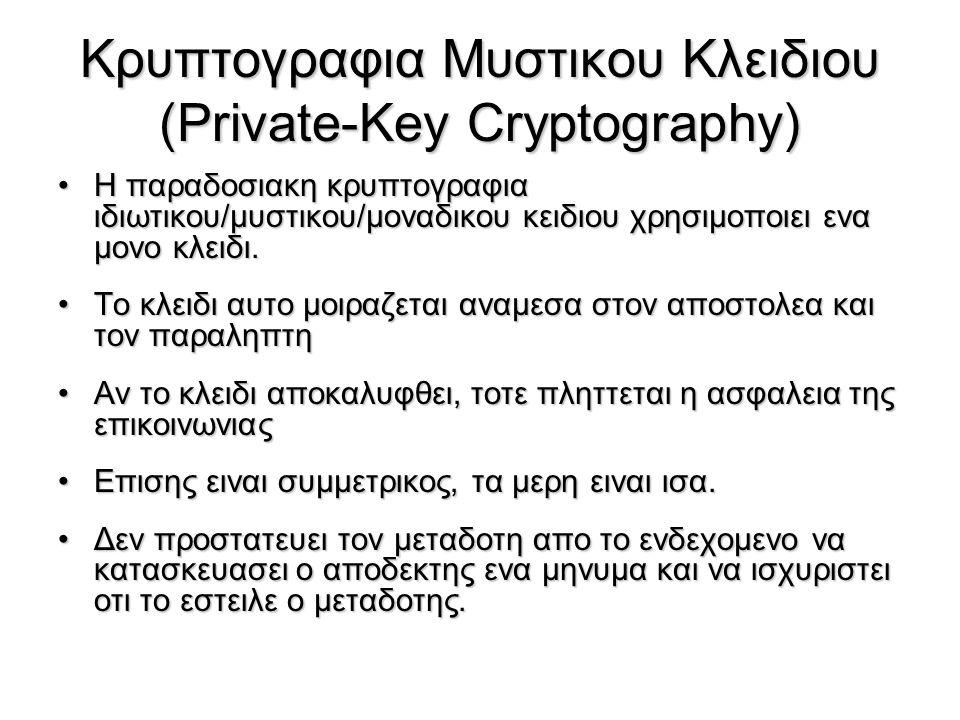 Κρυπτογραφηση και Αποκρυπτογραφηση με τον RSA Κρυπτογραφηση μηνυματος Μ (στο μεταδοτη):Κρυπτογραφηση μηνυματος Μ (στο μεταδοτη): –Λαμβανεται το δημοσιο κλειδι του αποδεκτη PU={e,n} –Υπολογιζεται το : C = M e mod n, οπου 0≤M<n Αποκρυπτογραφηση το ciphertext C (στον αππδεκτη):Αποκρυπτογραφηση το ciphertext C (στον αππδεκτη): –Χρησιμοποιειται το ιδιωτικο κλειδι PR={d,n} –Υπολογιζται το: M = C d mod n Το μηνυμα M πρεπει να ειναι μικροτερο απο το n (αλλιως πρεπει να χωριστει σε τμηματα)Το μηνυμα M πρεπει να ειναι μικροτερο απο το n (αλλιως πρεπει να χωριστει σε τμηματα)