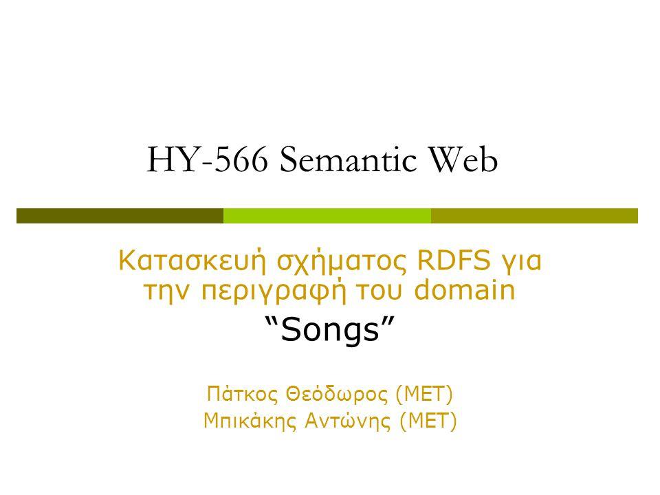 HY-566 Semantic Web Κατασκευή σχήματος RDFS για την περιγραφή του domain Songs Πάτκος Θεόδωρος (ΜΕΤ) Μπικάκης Αντώνης (ΜΕΤ)
