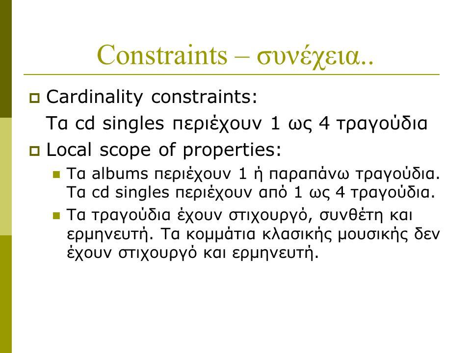 Constraints – συνέχεια..