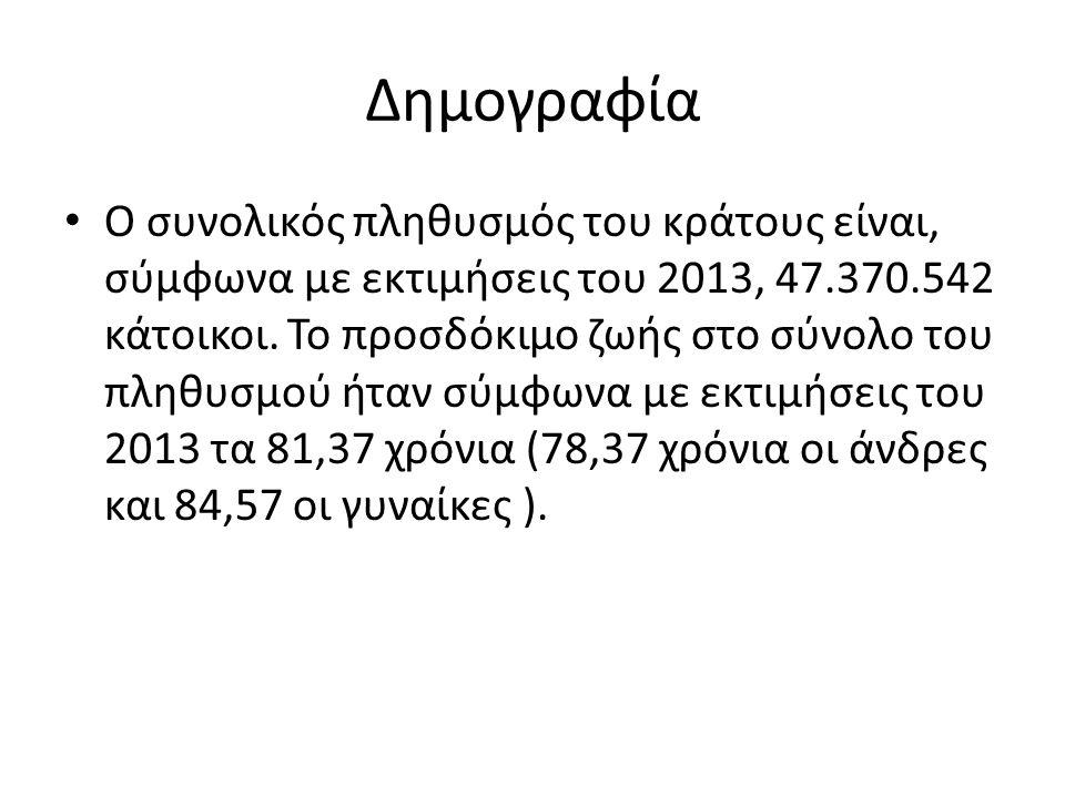 Δημογραφία O συνολικός πληθυσμός του κράτους είναι, σύμφωνα με εκτιμήσεις του 2013, 47.370.542 κάτοικοι. Το προσδόκιμο ζωής στο σύνολο του πληθυσμού ή
