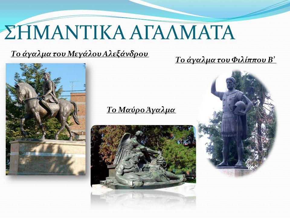 ΣΗΜΑΝΤΙΚΑ ΑΓΑΛΜΑΤΑ Το άγαλμα του Μεγάλου Αλεξάνδρου Το άγαλμα του Φιλίππου Β' Το Μαύρο Άγαλμα