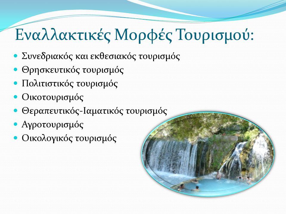 Εναλλακτικές Μορφές Τουρισμού: Συνεδριακός και εκθεσιακός τουρισμός Θρησκευτικός τουρισμός Πολιτιστικός τουρισμός Οικοτουρισμός Θεραπευτικός-Iαματικός