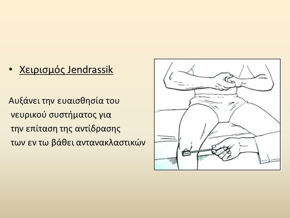 Χειρισμός Jendrassik Αυξάνει την ευαισθησία του νευρικού συστήματος για την επίταση της αντίδρασης των εν τω βάθει αντανακλαστικών