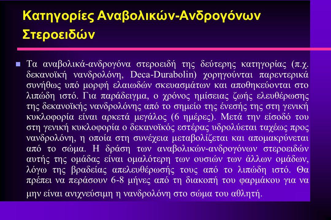 n Τα αναβολικά-ανδρογόνα στεροειδή της δεύτερης κατηγορίας (π.χ. δεκανοϊκή νανδρολόνη, Deca-Durabolin) χορηγούνται παρεντερικά συνήθως υπό μορφή ελαιω