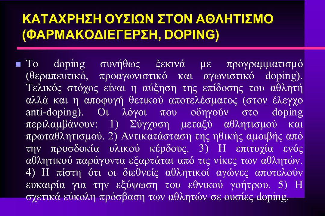 n Το doping συνήθως ξεκινά με προγραμματισμό (θεραπευτικό, προαγωνιστικό και αγωνιστικό doping). Τελικός στόχος είναι η αύξηση της επίδοσης του αθλητή